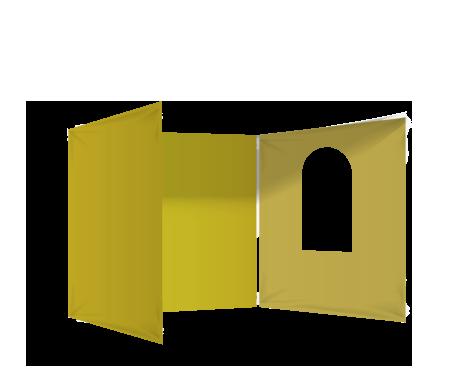 Keltainen 3 umpiseinää ja ikkuna