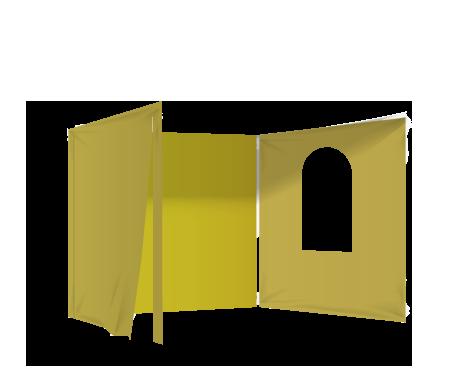 Keltainen 2 umpiseinää, ovi ja ikkuna