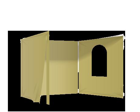 Kermanvalkoinen 2 umpiseinää, ovi ja ikkuna