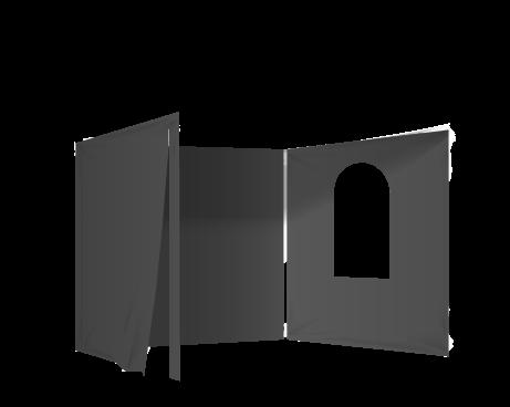 Musta 2 umpiseinää, ovi ja ikkuna