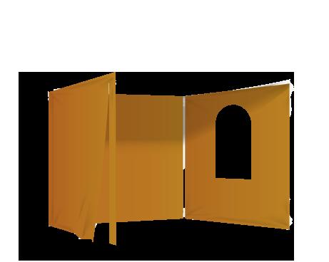Oranssi 2 umpiseinää, ovi ja ikkuna