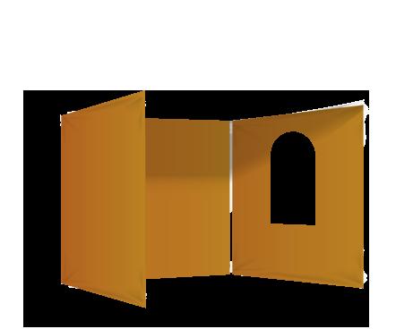 Oranssi 3 umpiseinää ja ikkuna