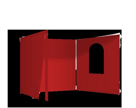 Punainen 2 umpiseinää, ovi ja ikkuna