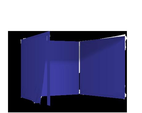 Sininen 3 umpiseinää ja ovi