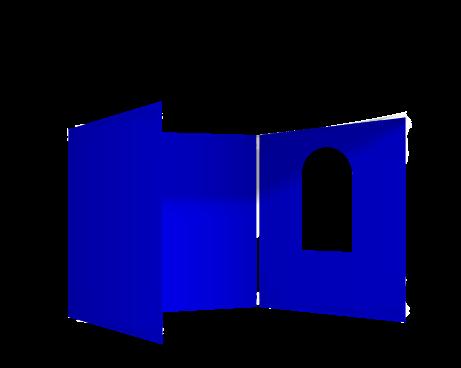 Sininen 3 umpiseinää ja ikkuna