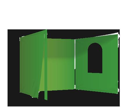 Vihreä 2 umpiseinää, ovi ja ikkuna