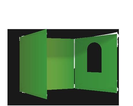 Vihreä 3 umpiseinää ja ikkuna